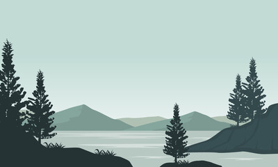 Amazing view of the mountains from the riverbank in the morning. Vector illustration Fototapete