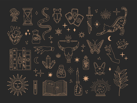 Witchcraft sacred big set, mystic magical symbols for tattoo, mystery gold line art collection, modern boho style elements sun, stars, eye, potion. Vector icons and logo illustration, black background