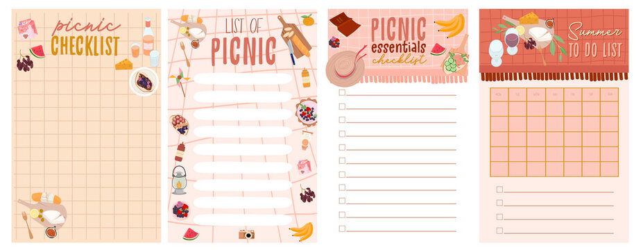 Summer planner, to do list, picnic checklist set with Summer Picnic tasty food and leisure things. Editable vector illustration.