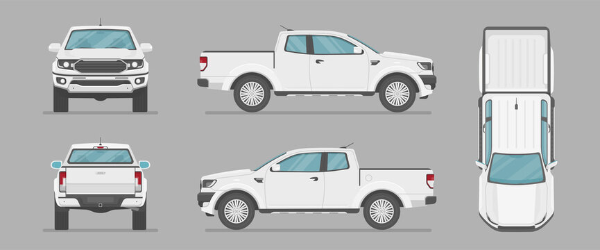Car in different view. Front, back, top and side car projection. Flat illustration for designing. Vector pickup truck.
