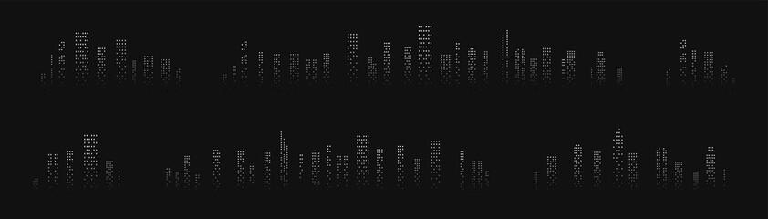 City skyline silhouette. City landscape template. Urban landscape. Vector illustration.