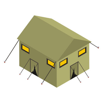 Editable isometric icon of army camp