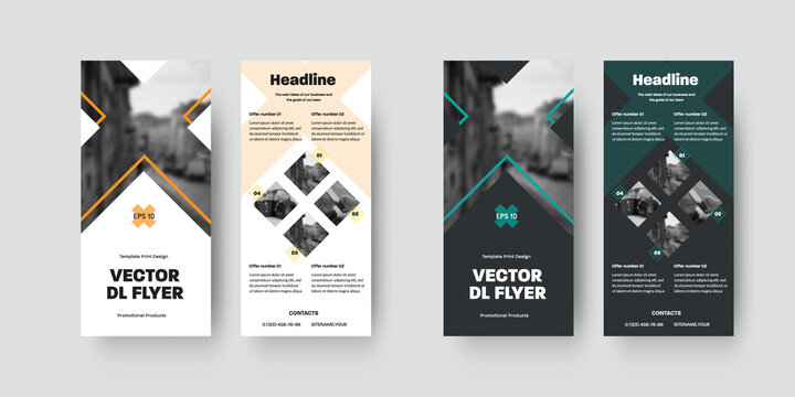 Set of vector dl flyers template with design and crosses