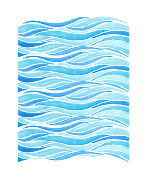 Blue waves watercolor background in blue color, water or hair texture, painted modern graphic artistic pattern.