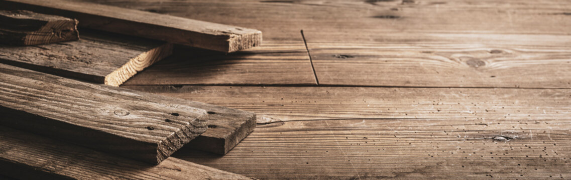 Rustic wooden boards on a table