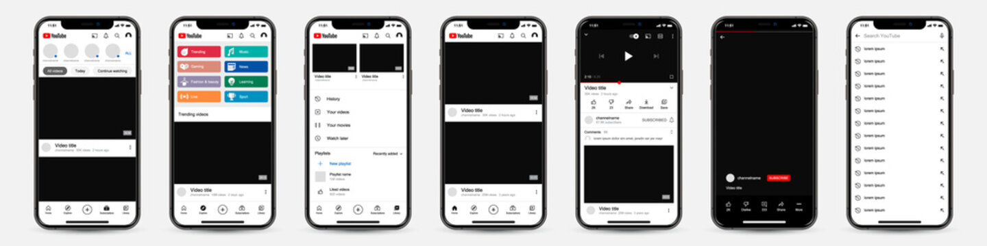 Set of Iphones with Youtube template frame for social network