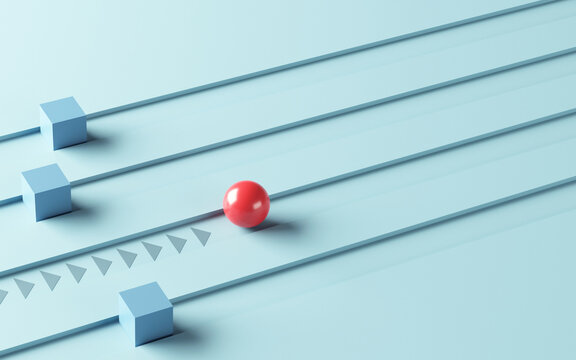 Leadership concept, One leader red sphere leads other boxes. Winning strategy in business, 3d render.