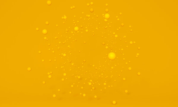 Explosion of yellow particles. floating spheres on studio background. Agility concept, make up.