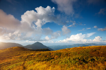 Wall Mural - Awesome panorama of mountains in sunny day. Location place Carpathian mountain, Ukraine, Europe.