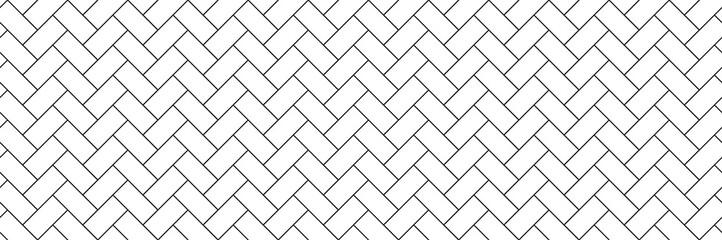Obraz subway tile background. white seamless patter for kitchen backsplash, bathroom wall, shower. ceramic herringbone vector texture - fototapety do salonu
