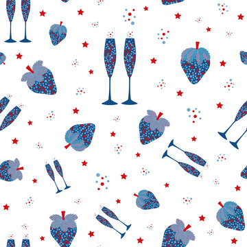 Champagne and strawberry vector seamless pattern background. Blue red white backdrop with fizz, champagne flutes, strawberries fruit, bubbles, stars. Repeat for party, celebration, 4th July concept