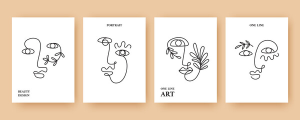 Minimal Abstract backgrounds with Trendy One line drawing faces Fototapete