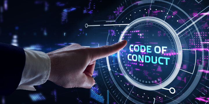 Business, Technology, Internet and network concept. Young businessman working on a virtual screen of the future and sees the inscription: Code of conduct.