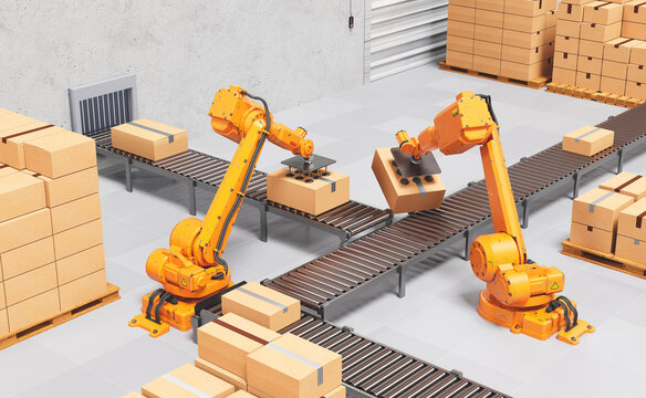 Robotic Palletising and Packaging Concept. Industrial Background. 3D illustration