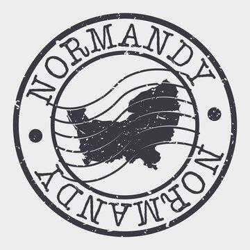 Normandy, France Map Postmark. Silhouette Postal Passport. Stamp Round Vector Icon. Vintage Postage Design.