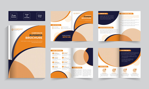 Business bifold brochure template design. Creative bi-fold pages brochure design. Corporate brochure template with modern, minimal, and abstract design.