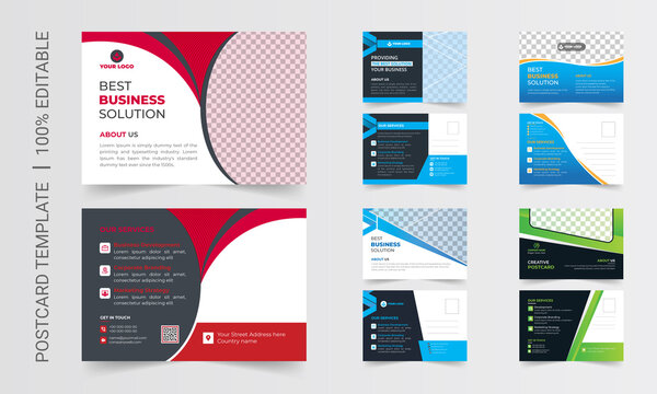 Postcard design template. Postcard real estate, business postcard, postcard template, postcard, postcard layout