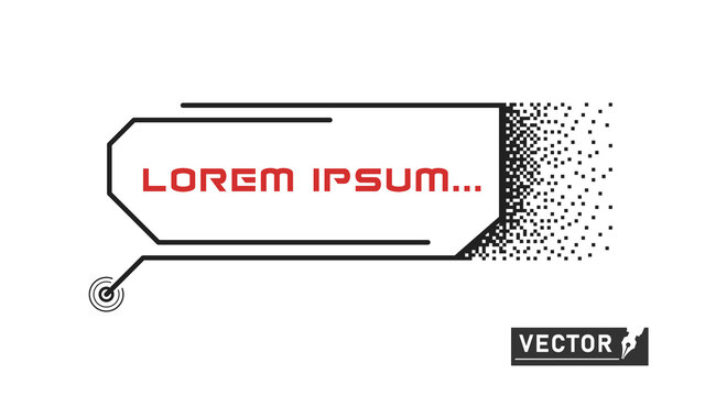 Pixel digital element frame technology. Callouts titles. HUD. Vector element template. flat style.