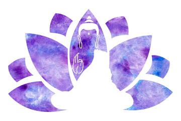 Lotus and Lord Buddha. Symbol of buddha. Vesak day greeting background with Buddha and lotus flower. Yoga, spirituality. Buddha silhouette for spa logo. Watercolor buddha