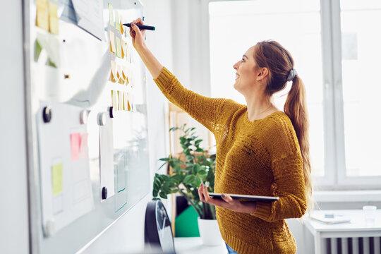 Happy businesswoman writing on whiteboard in office