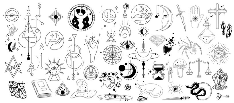 Boho Mystic Magic elements symbols. Doodle esoteric, boho mystical hand drawn elements isolated background. Perfect for posters, tattoo, textile, cards, mystery. Magic set. Vector illustration