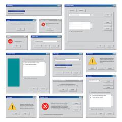 Fototapeta Vintage computer windows. Desktop interface retro user frames pop up boxes internet explorer blank windows garish vector templates set obraz