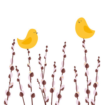 Festive greeting card with golden eggs and yellow birds