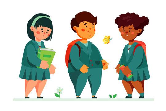 Schoolchildren standing together - colorful flat design style illustration
