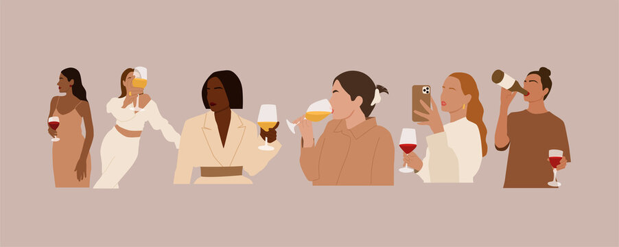 Set of abstract international women with wine.