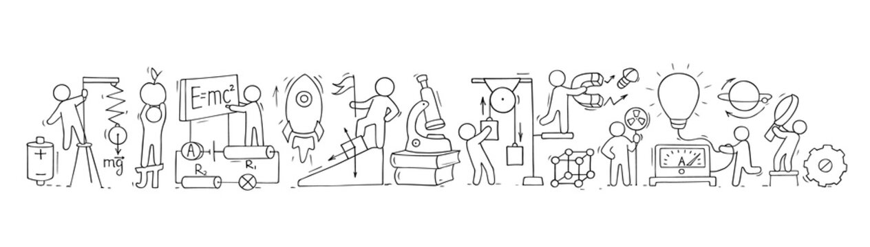 Sketch of physics lab with working little people