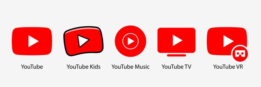 Google LLC. Official logotypes of Youtube Apps. Youtube, youtube kids, YouTube Music, YouTube TV, YouTube VR. Kyiv, Ukraine - March 22, 2021