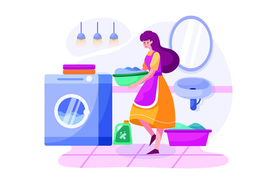 The cleaning woman bringing clothes to the washing machine.