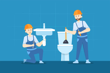 Young plumber is repairing the hand sink while the other plumber clearing the toilet. Wall mural
