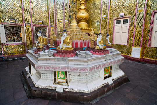 Buddhist altar at Mandalay Hill, Myanmar (Burma)