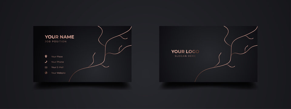 Luxury business card with root of the tree illustration template. Design two sides with dark black background. Vector ready to print.