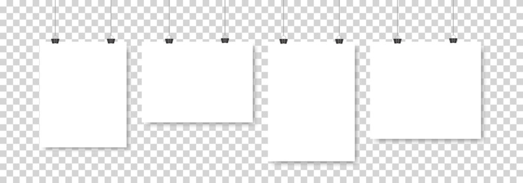 Set of four white realistic blank paper pages with shadow. Four empty paper sheets or blank pictures canvas hanging on wall. Design poster, template or mockup on transparent background. Vector