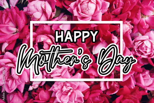 Pink roses as pattern background with Mother's day card text.