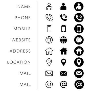Company Connection business card icon set. Phone, name, website, address, location and mail logo symbol sign pack. Vector illustration image. Isolated on white background. Contact design template