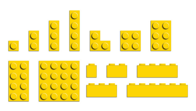 Set of building bricks in yellow color