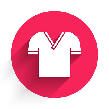 White Golf shirt icon isolated with long shadow. Sport equipment. Sports uniform. Red circle button. Vector
