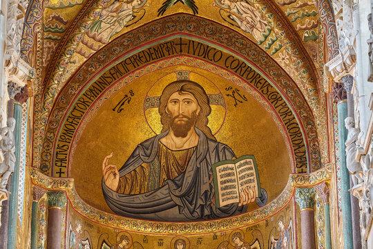 Christus Pantokrator Mosaic. Church in Cefalu. Sicily.
