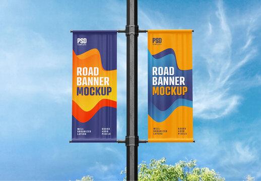 Street Pole Banner Mockup