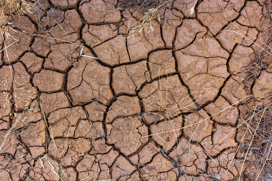 Arid, cracked and dry terrain in southern in Spain