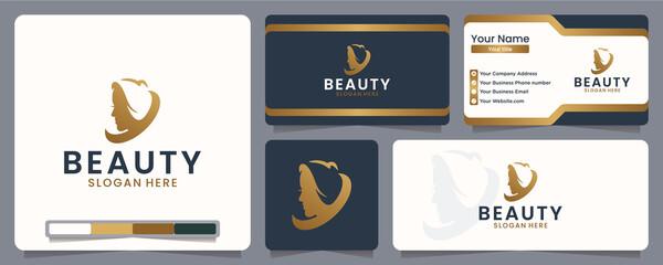 Fototapeta beauty women, for beauty care companies, hair, face, logo design inspiration