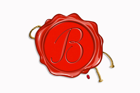 Red wax seal with copy space on a white background. Icon seal wax realistic stamp with rope and letter: B