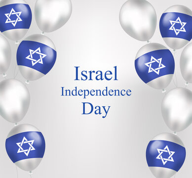 Happy Israel Independence Day greeting card in realistic style with israel flag balloons. Jewish National Holidays. Vector illustration