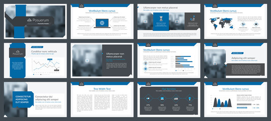 Obraz Powerpoint and keynote presentation slides design template. Elements of infographics for presentations templates, annual report, leaflet.Corporate report, advertising template in vector Illustration.  - fototapety do salonu