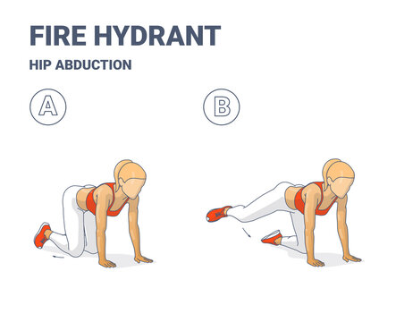 Fire Hydrant Exercise, Female Home Workout Routine Guidance or Hip Abduction Women fitness exercise.