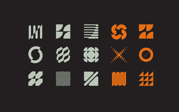 Set of modern abstract geometric shapes. Trendy minimal graphic elements for your unique design.