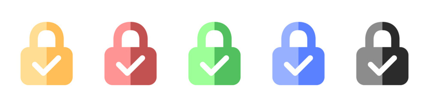 Lock with check mark icons set. Vector set of icons of verified locks. A set of colored locks verified protection. Set of web protection symbols in flat style. Vector illustration.